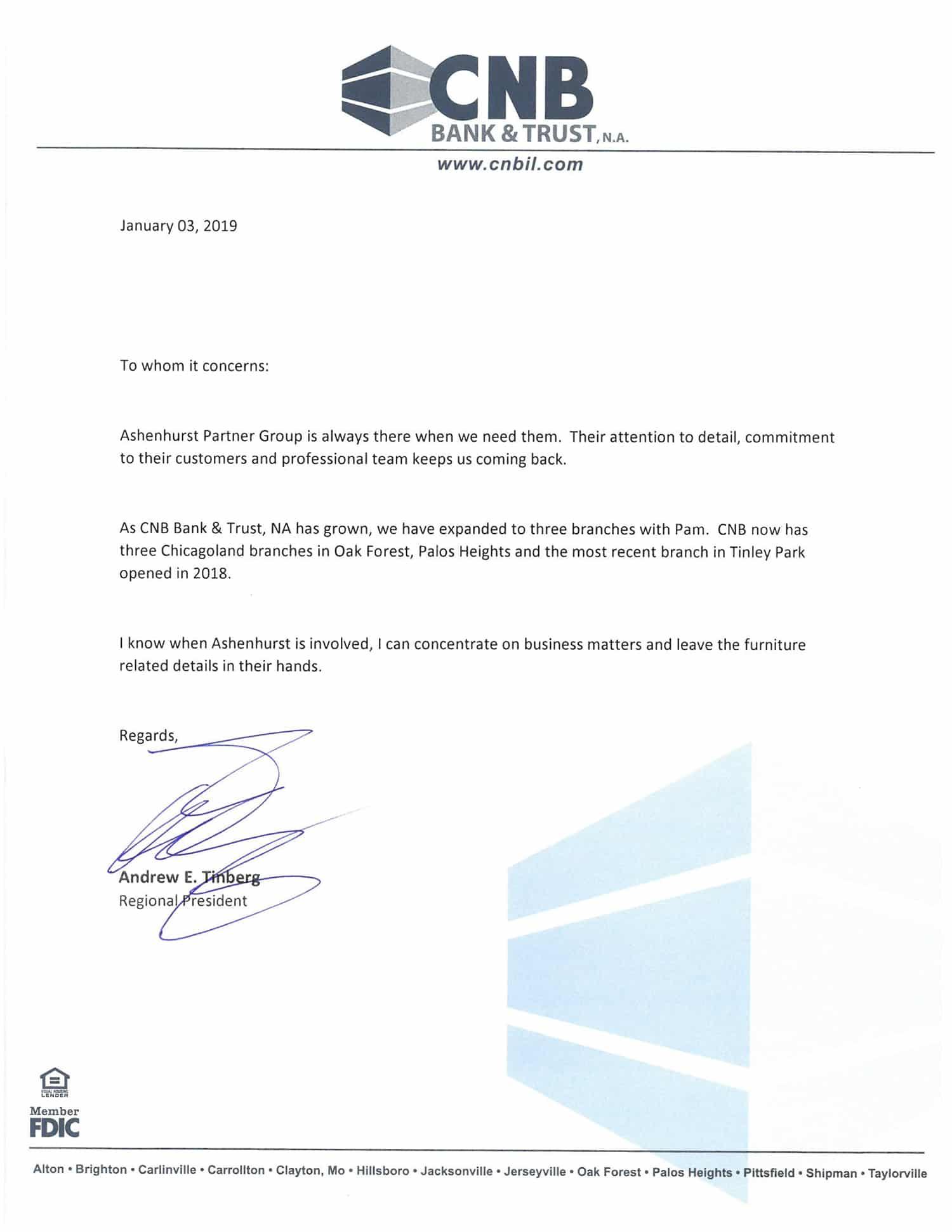 Ashenhurst Partner Group - CNB Bank Testimonial
