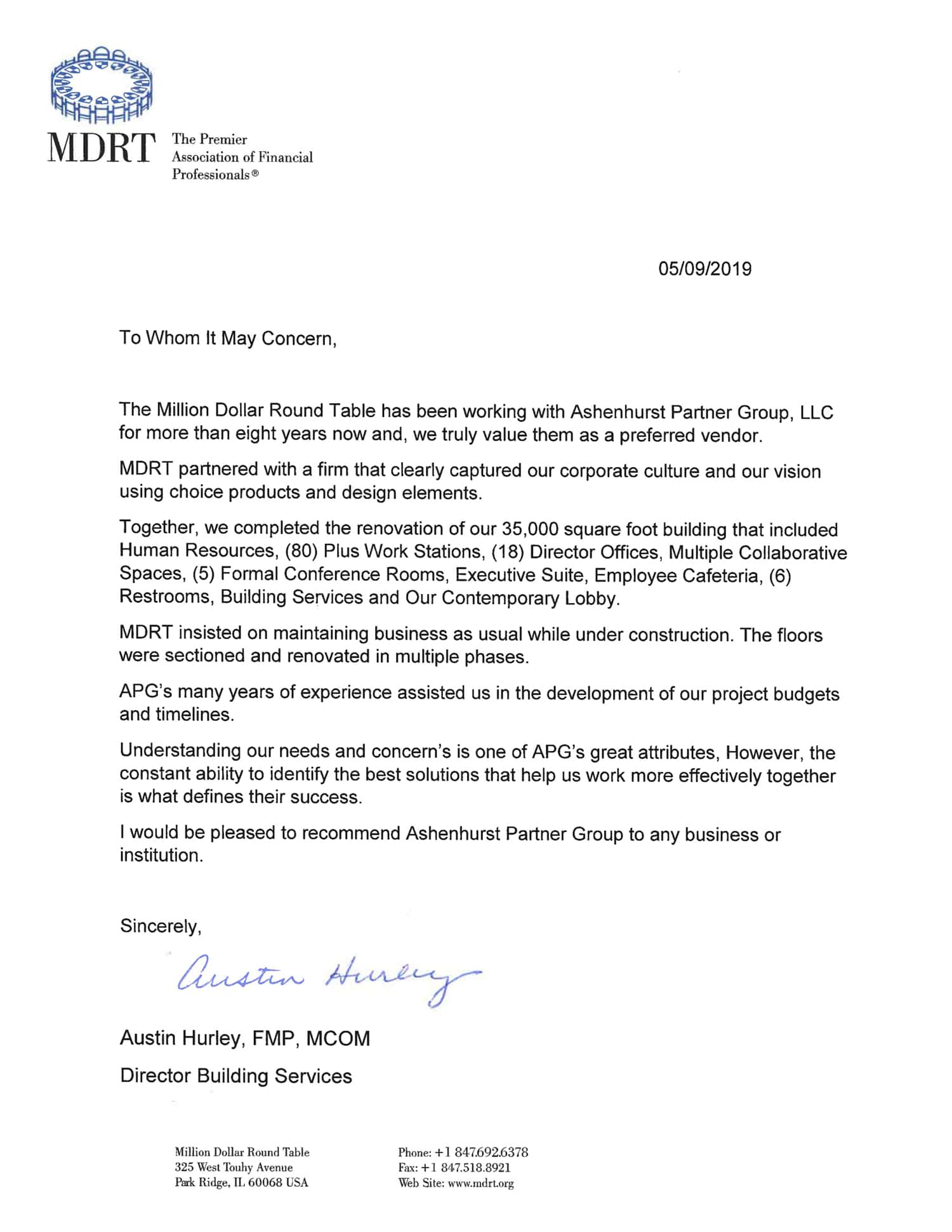 Ashenhurst Partner Group - MDRT Testimonial