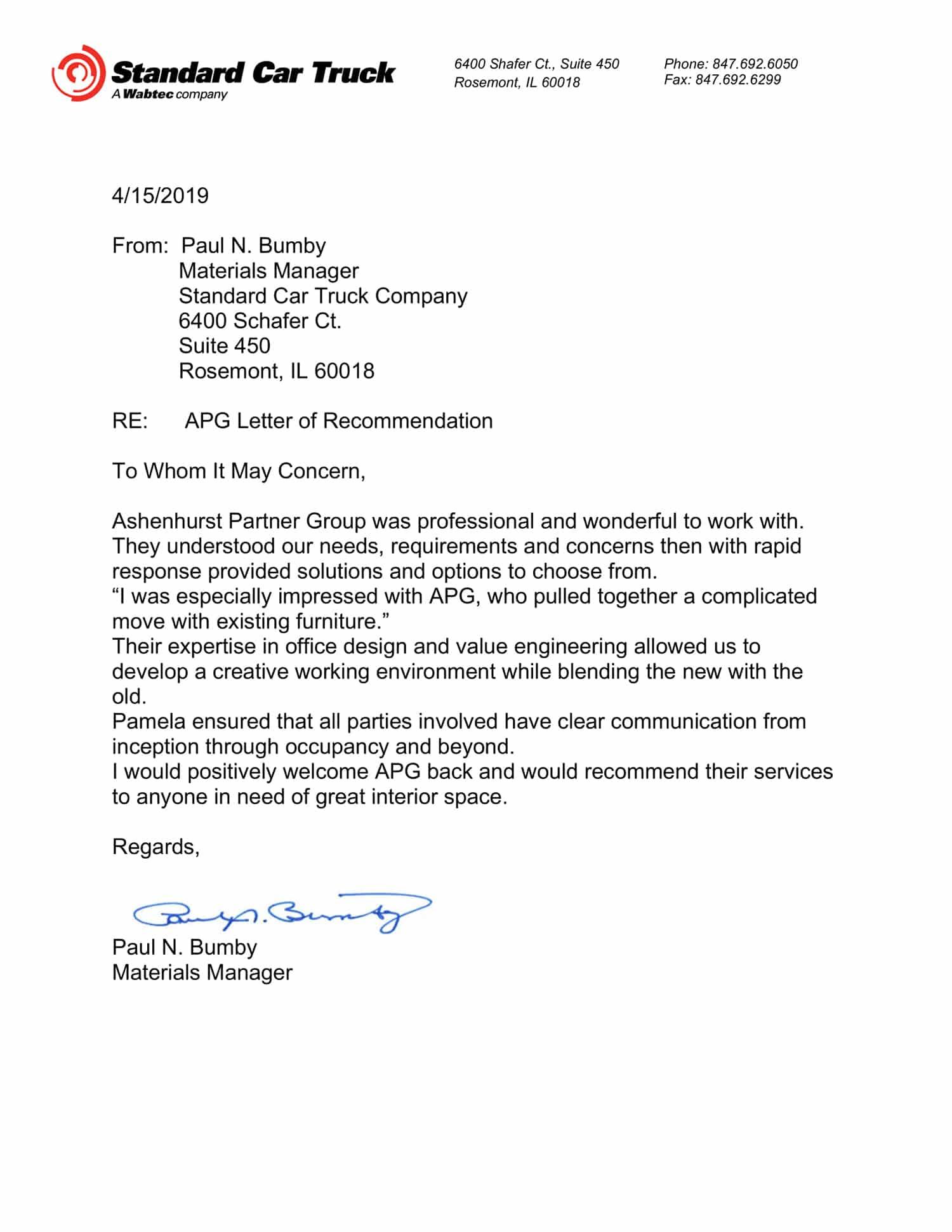 Ashenhurst Partner Group - SCT Wabtec Testimonial